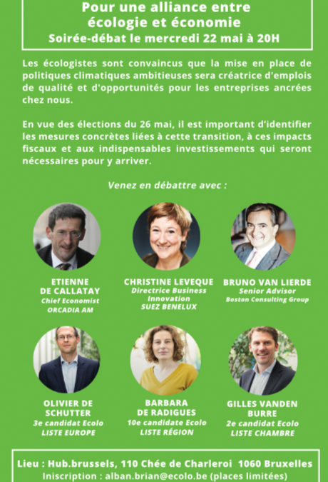 Soirée débat du 22 mai: « Pour une alliance entre écologie et économie »